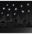 Night cityscape with glowing light stars vector image