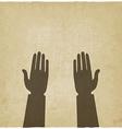 prayer hands symbol old background vector image
