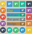 Table icon sign Set of twenty colored flat round vector image