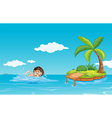 A boy swimming at the beach vector image vector image