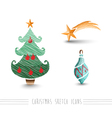 Merry Christmas sketch style bauble tree elements vector image vector image