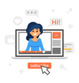 blogger girl in a laptop vlog concept vector image