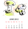 calendar with vegetables for 2012 june vector image