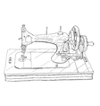Vintage style sewing machine on white background vector image