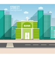 bank building in city space with road vector image