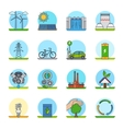 Green energy color line icons vector image