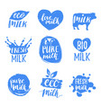 hand drawn milk labels signs set for dairy vector image