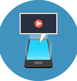Smartphone playing video concept Isometric design vector image