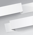 Two white diagonal sheets of paper on a grey vector image