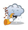 with trumpet rain cloud character cartoon vector image
