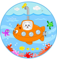 Cute cat on submarine under water vector image