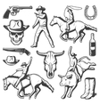 Vintage Rodeo Elements Set vector image