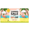 summer sale background with two pink flamingos vector image