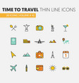 travel vacations linear thin line icons vector image