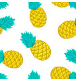 seamless background with pineapple on white vector image