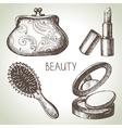 Beauty sketch icon set vector image vector image