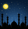 Night background with mosque silhouette vector image