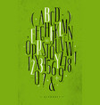 alphabet gothic font green vector image