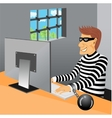 prisoner sitting in his prison cell vector image