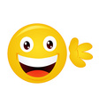 Yellow emoticon cartoon character vector image