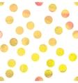 Yellow watercolor polka dot vector image