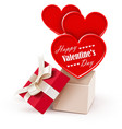 Gift box with big hearts vector image vector image