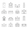 Towers and castles icons set outline style vector image