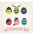 Happy Hipster Easter - set of stylish eggs icons vector image