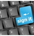 sign it or login concept with key on computer vector image
