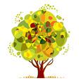 Bright color tree cartoon style vector image