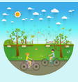 couple riding bicycles in public park flat vector image