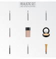 realistic brow makeup tool mouth pen brush and vector image