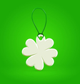 White plastic shamrock leaf tag vector