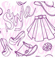 fashion vogue seamless pattern vintage doodle hand vector image vector image