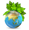 Planet earth with green plants vector image vector image