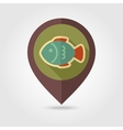 Fish flat mapping pin icon with long shadow vector image