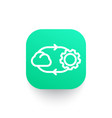 cloud technology line icon on green shape vector image