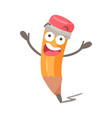 funny cartoon surprised humanized pencil character vector image