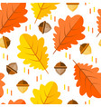 seamless pattern with acorns and autumn oak leaves vector image