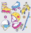 set of roller skates skateboard helmets wheel vector image