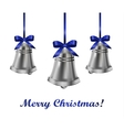 Silver bells withblue bow vector image