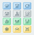 zoology icons set collection of butterflyfish vector image