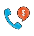 handset with speech bubble vector image