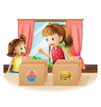 A woman and a young girl near the two boxes vector image