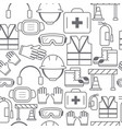 Different line style icons seamless pattern safety vector image