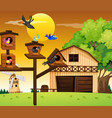 many birds living in birdhouse vector image vector image
