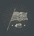 vintage label hand drawn usa flag happy vector image