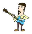 comic cartoon man playing electric guitar vector image