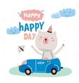 Animal Birthday greeting card design vector image