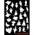 Big set of Halloween flying ghosts vector image